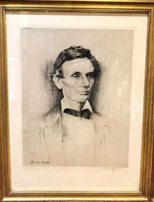 "HAYDON JONES ""Abraham Lincoln"" Original Etching, 1910 -"