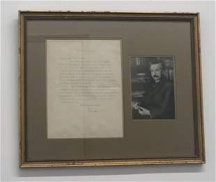 ALBERT EINSTEIN Signed Letter Photograph German, 1944 -