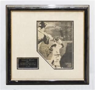 NOLAN RYAN Signed 1st No-Hitter Newspaper Photograph,