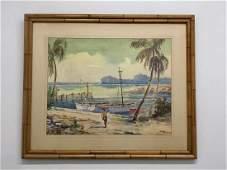 Joseph Hirsch, 'Tropical Beach,' Watercolor Painting,