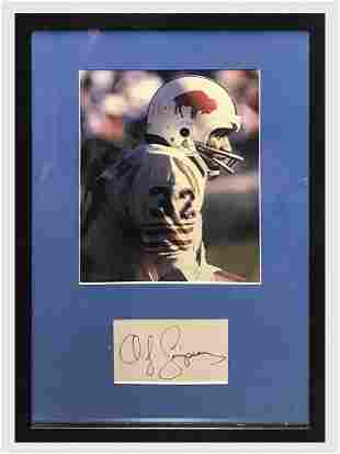 O. J Simpson 1970s Signed Index Card with Portrait -