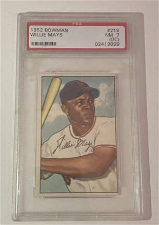 Willie Mays #218, 1952 Topps PSA 7 (NM) Trading Card -