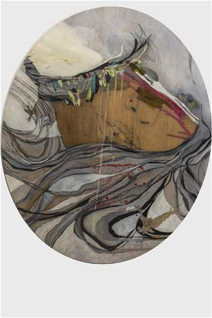 Gina Magid, 'Oval Face with Two Birds,' Mixed Media on