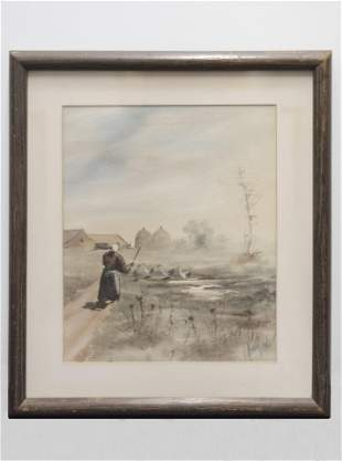 Woman in a Landscape, Signed Watercolor on Paper,