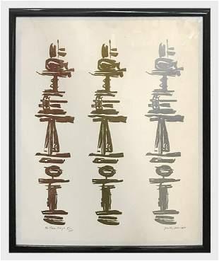 Dorothy Deleuer ÒThe Tree KingsÓ 1975 Linocut Print on