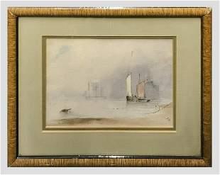 Signed 1863 Original Watercolor on Paper Seascape - $4K
