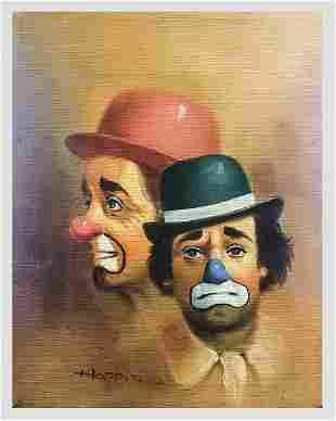 "HOPPIN ""Sad Clowns"" 1950s Original Signed Oil on Canvas"