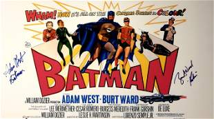 Autograph Signed Batman Adam West Poster