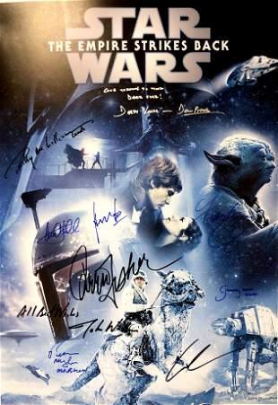Autograph Signed Star Wars Force Awaken Poster