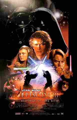 Autograph Signed Star Wars Revenge of the Sith Poster