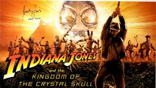 Autograph Signed Crystal Skull Poster Harrison Ford