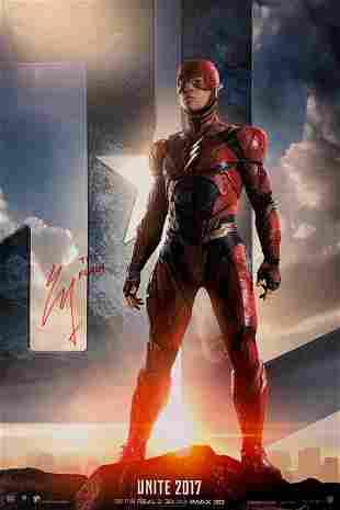 Erza Miller Autograph Signed Justice League Poster