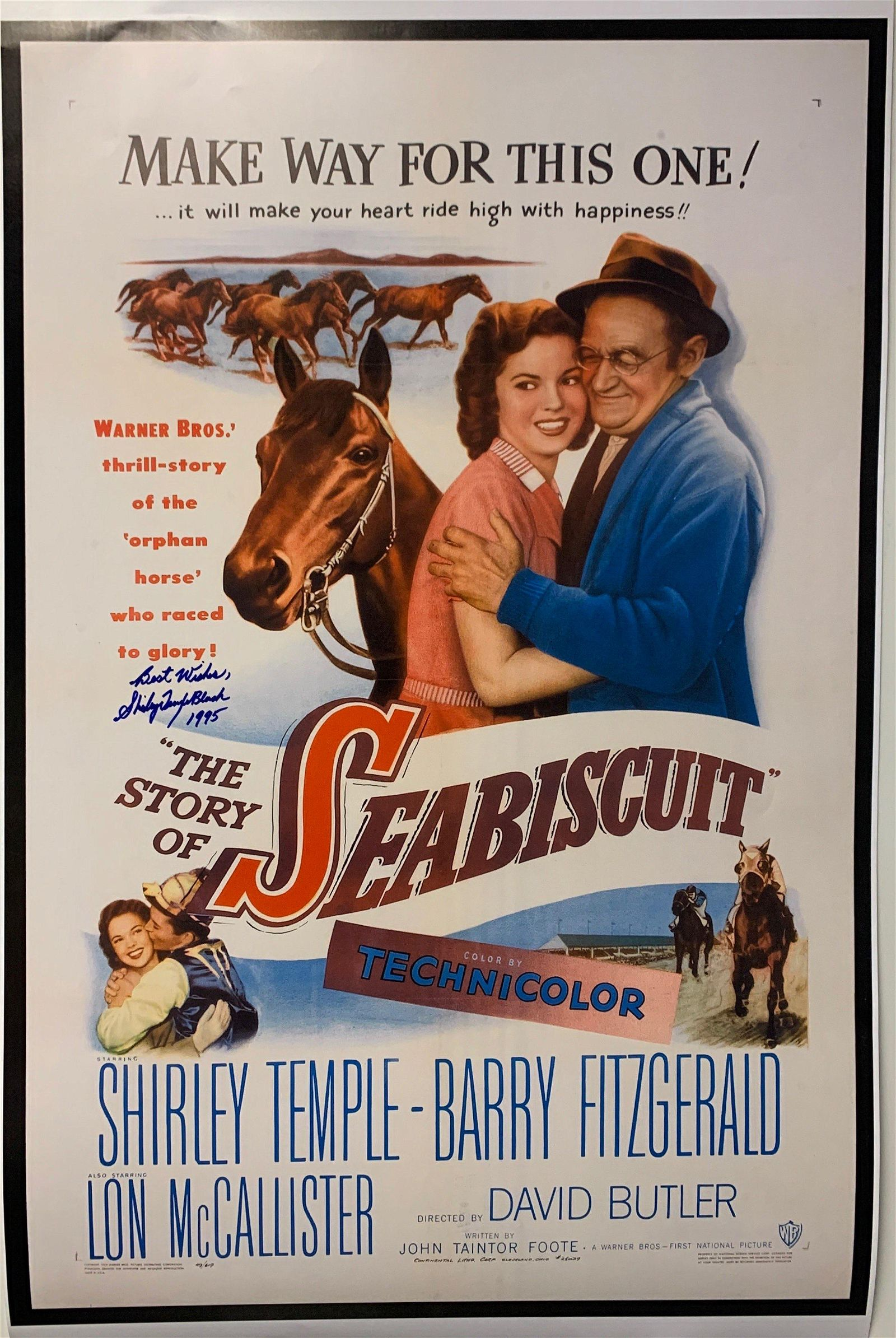 Shirley Temple Autograph Signed Seabiscuit Poster