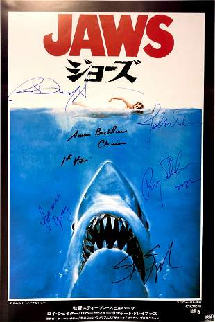 Autograph Signed Jaws Poster