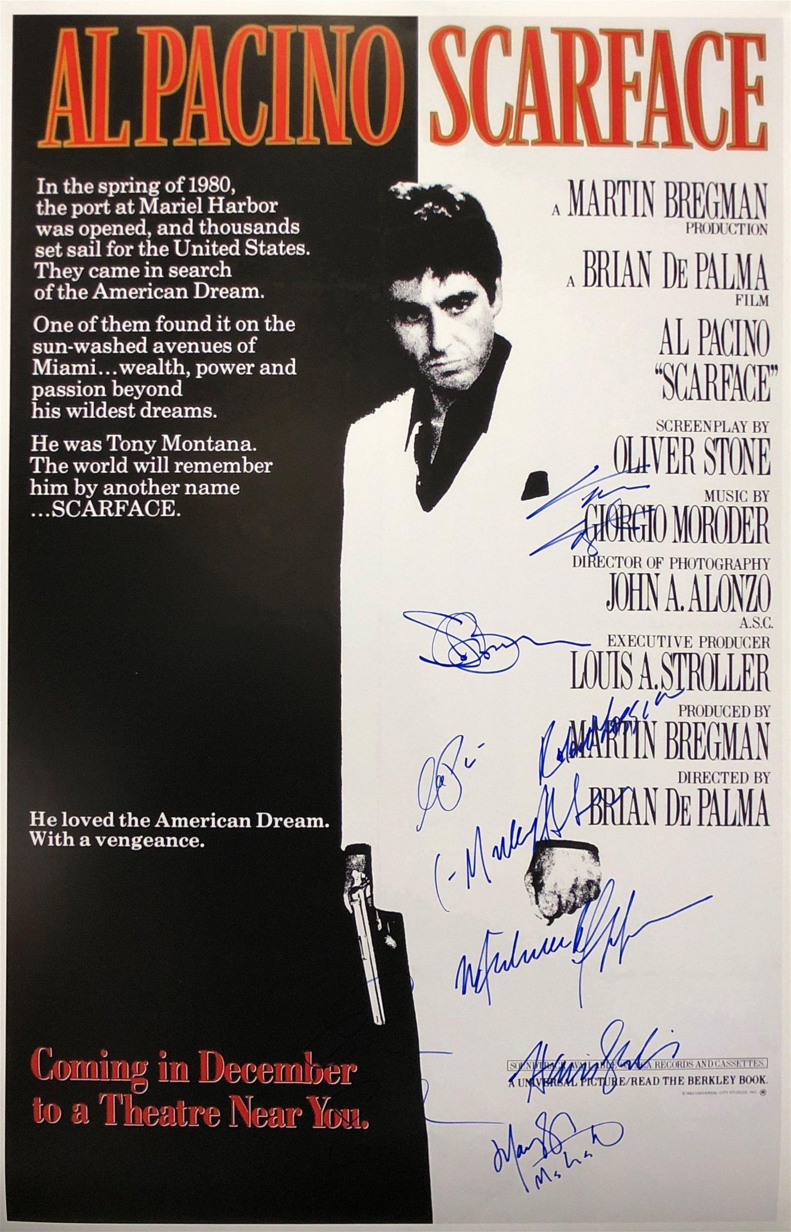 Scarface Poster Al Pacino Michelle Pfeiffer Autographed