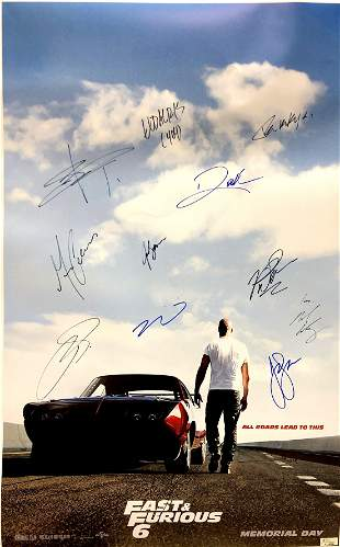 Autograph Signed Fast and Furious 6 Poster