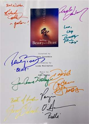 Autograph Signed Beauty and the Beast Script Cover