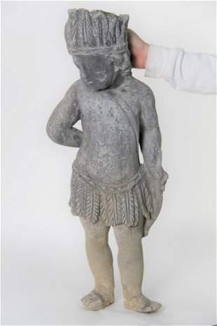 An Antique Bronze Sculpture Of Native American Child