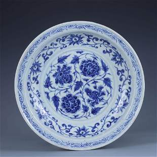 A Blue And White Interlocking Lotus Plate