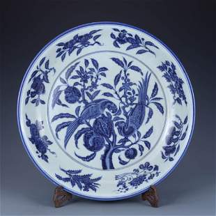 A Blue And White Flowers&Birds Plate