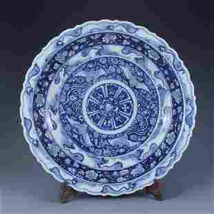 A Blue And White Phoenix Lobed Plate