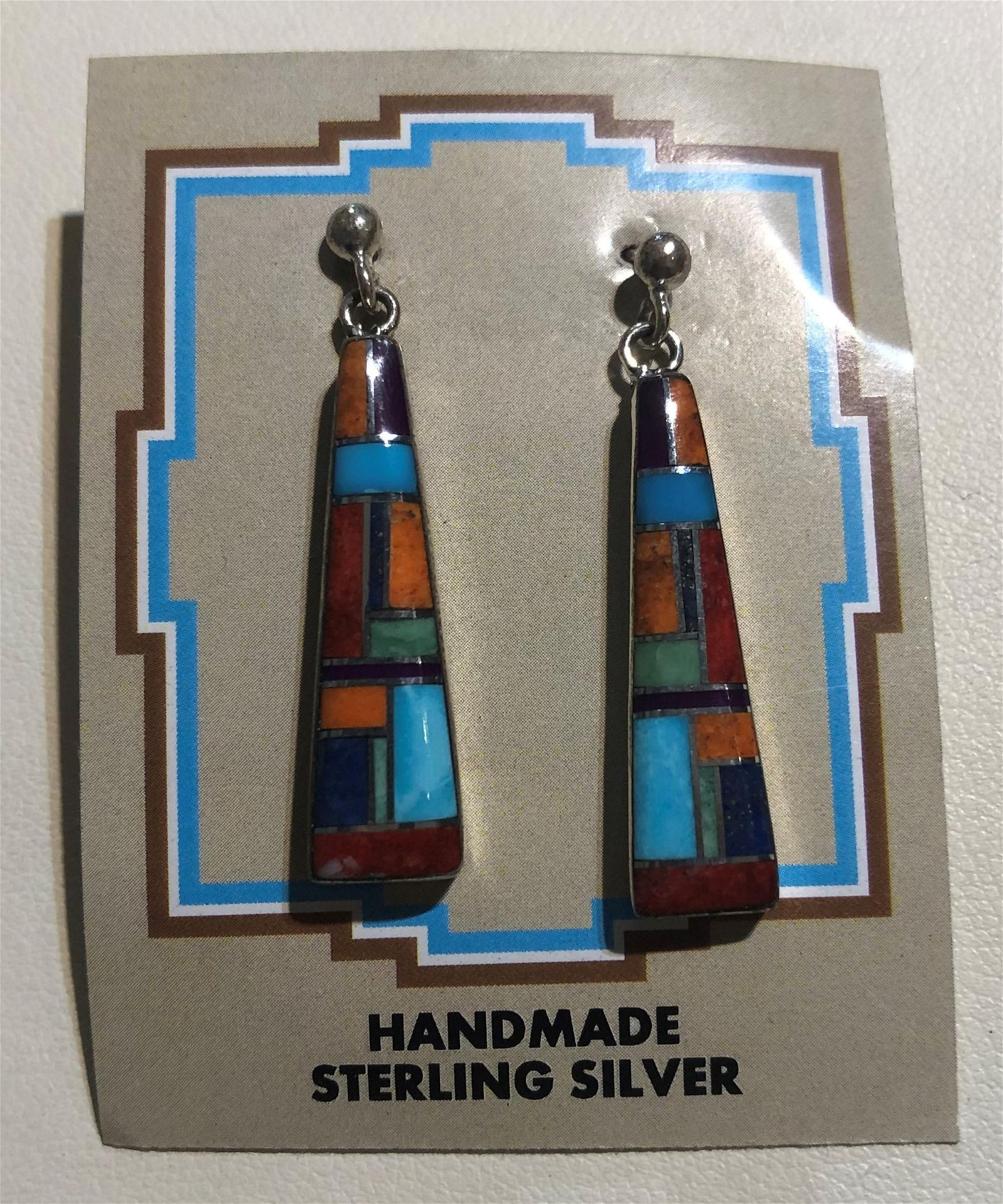 Inlaid Multi-Colored Stone Earrings, Handcrafted in New