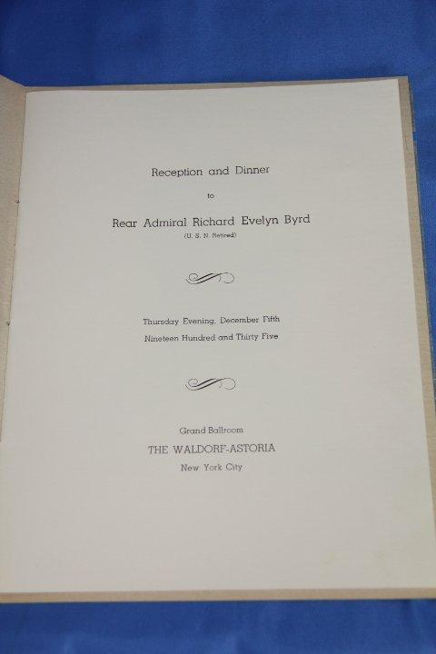 Autographed Dinner Menu - Admiral Richard Evelyn Byrd