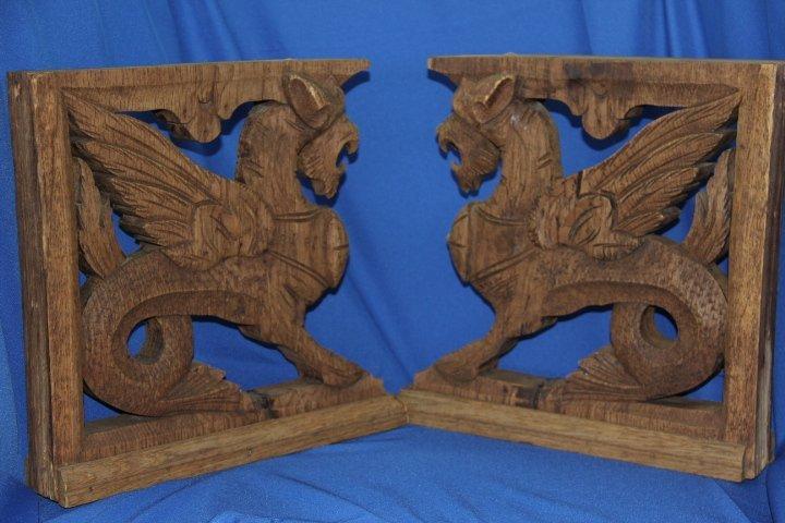 Carved Wood Gargoyles - 2