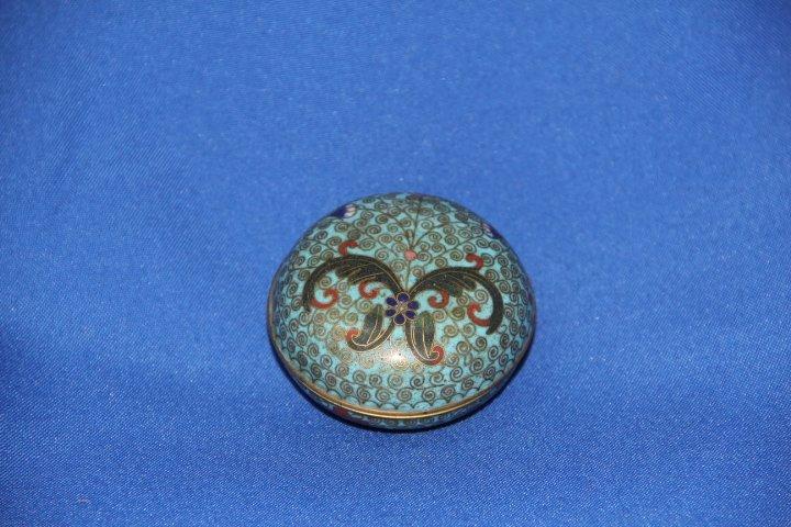 Round Lidded Cloisonne Box