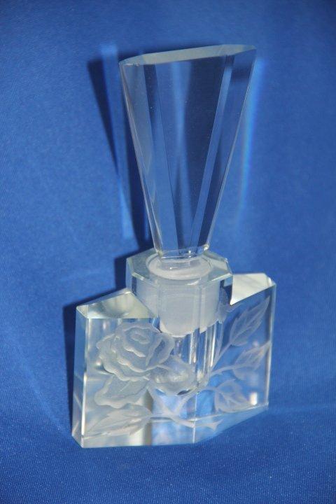 Vintage Perfume Bottle Etched Crystal