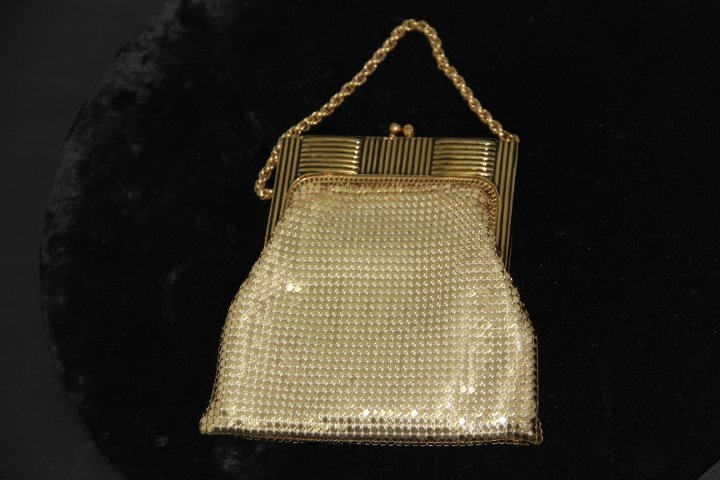 Deco Gold Toned Whitting and Davis Mesh Bag