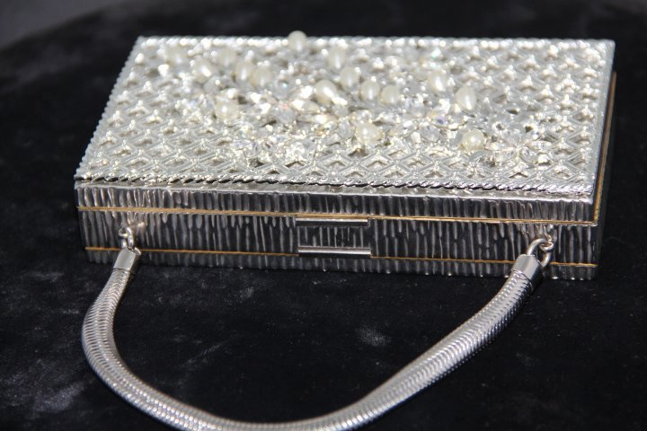 Metal Evening Bag with Fitted Cosmetic Pieces