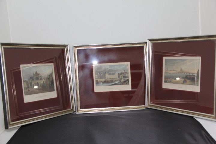 Three Hand Colored Etchings of Paris France