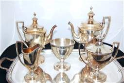 JE Caldweld Sterling Silver 6 pc. Coffee & Tea Set