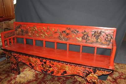 Chinese Antique Jiangxi Carved Bench