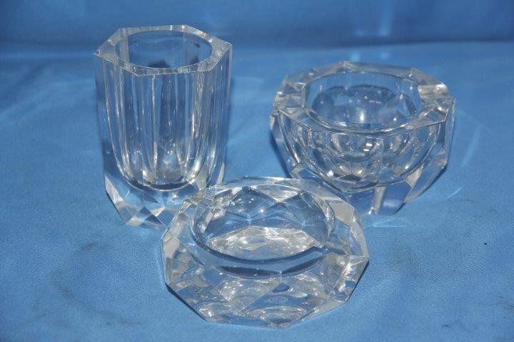 Pair of Baccarat Ashtrays and Pen Holder