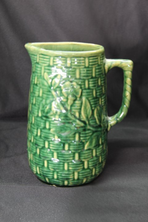 Tall Green Pottery Pitcher