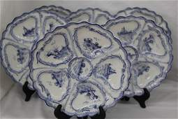 Group of Delft Porcelain Oyster Plates