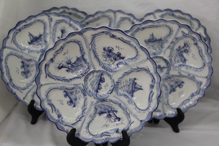 Group of Delft Porcelain Oyster Plates
