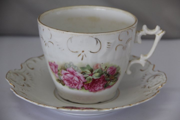 Large, Hand Painted, Vintage  Cup and Saucer