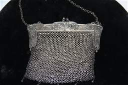981519 Vintage German Silver Mesh Ladies Purse