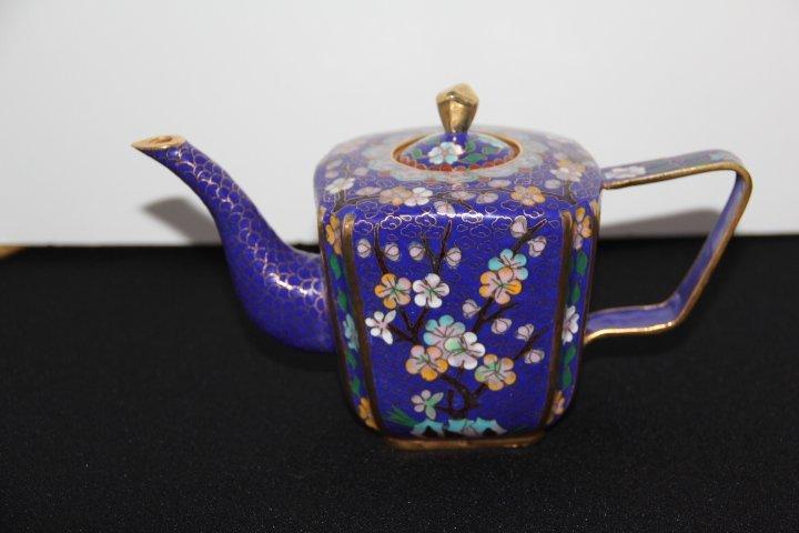 Cobalt Cloisonné Teapot