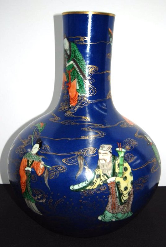 Large hand painted oriental jar
