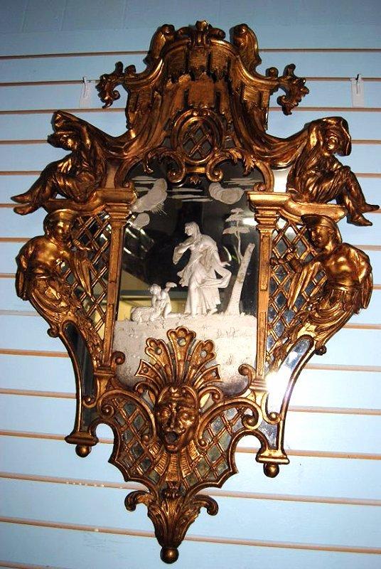Italianaide  Antique Gold Florentine Mirror
