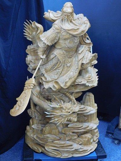 Carved Camphorwood Dragon Man Statue