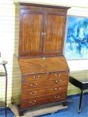 English Antique Inlaid Mahogany Secretary