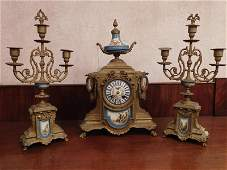 Porcelain and Bronze Clock Set