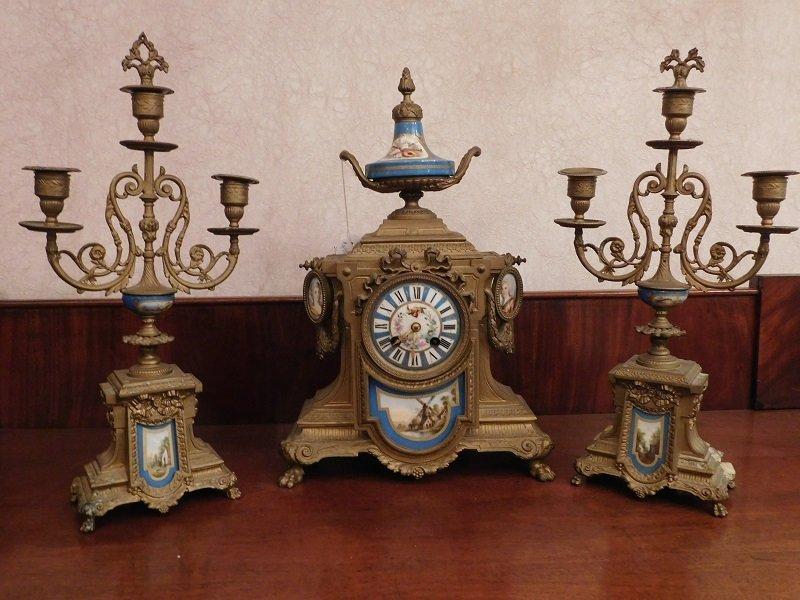 Porcelain and Bronze Clock Set