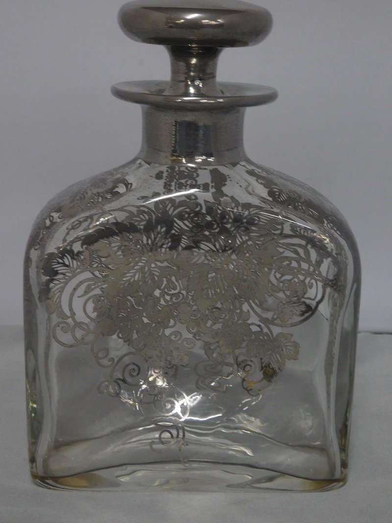 Crystal Decanter with Silver Overlay