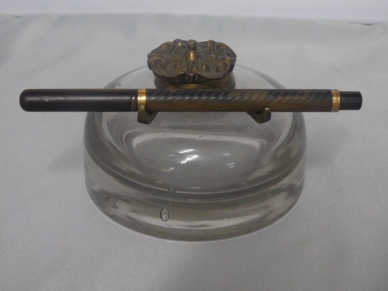 Vintage Glass Inkwell and Caw's Dashaway Fountain Pen